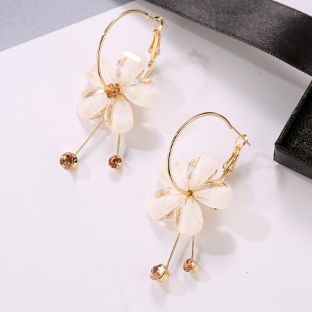 gold hoop champagne flower earrings