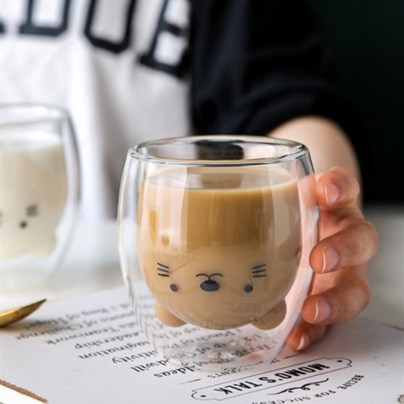 Bear Face Double Walled Drinking Glass
