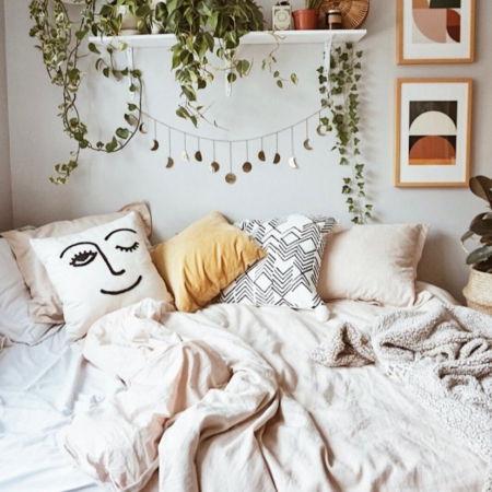 Moon Phase Garland, Bedroom Interior