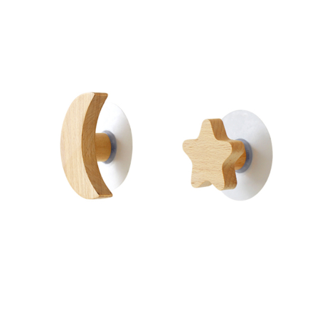 Night Sky Wooden Hooks, Home Interior, Moon and Star