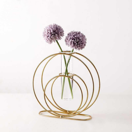 Ayla Glass Tube Vase with Gold Stand